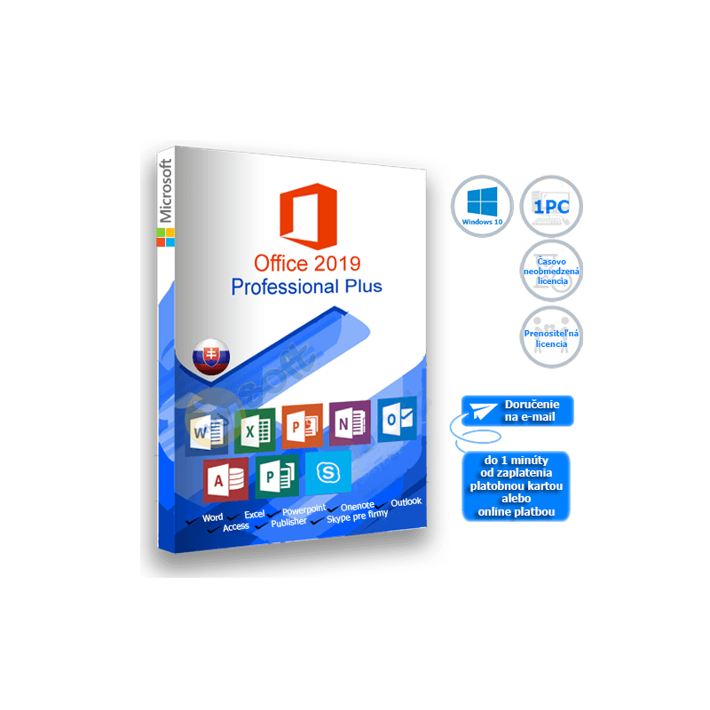 Microsoft Office 2019 Professional Plus - elektronická licencia